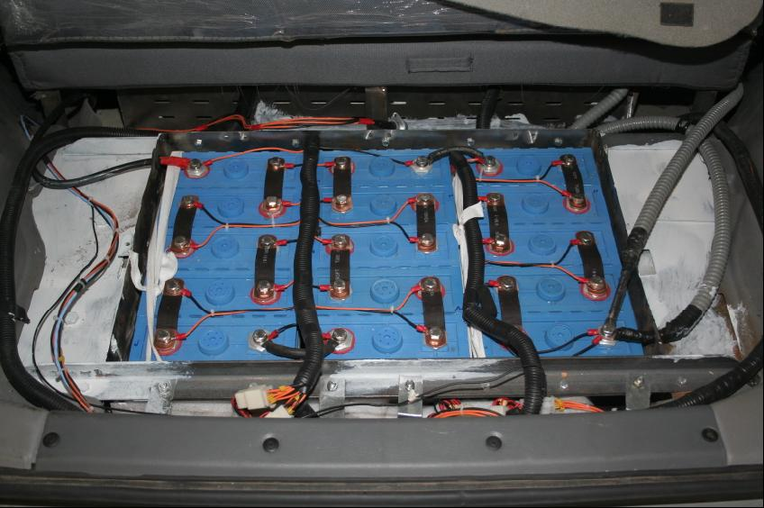 A typical converted EV battery pack