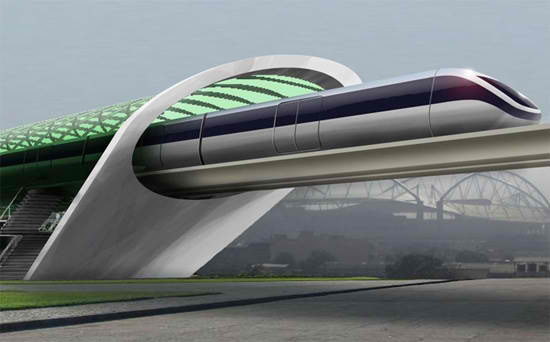 A concept design for Aeromovel, a transportation system similar to Hyperloop. Credit: DVICE