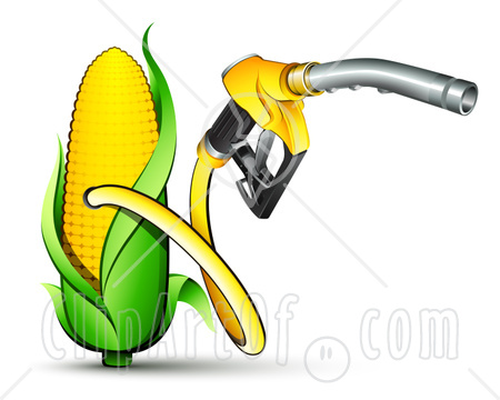 30949-Clipart-Illustration-Of-A-Yellow-Gas-Nozzle-Emerging-From-A-Yellow-Corn-Biofuel-Pump