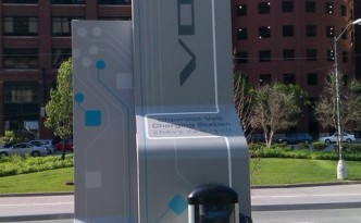 Chevy Volt Charging Station Outside General Motors Plant is Powered by Renewable Energy