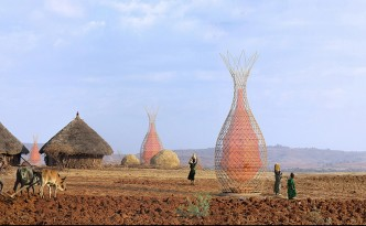 This beautiful tower produces potable water without any electricity or high-tech gadgets.