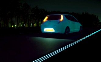 World's first glow-in-the-dark Nissan Leaf drives worlds first glow-in-the-dark highway, the Smart Highway, in the Netherlands.
