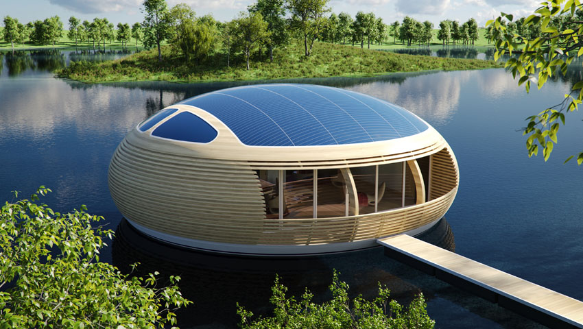 Waternest 100 - Wonderful Floating Solar Powered Home Design - The ...