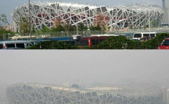 Bird's nest, Beijing National Stadium, China shrouded in smog