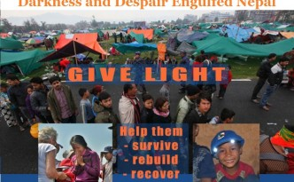 Solar light Caps to Homeless Nepalese