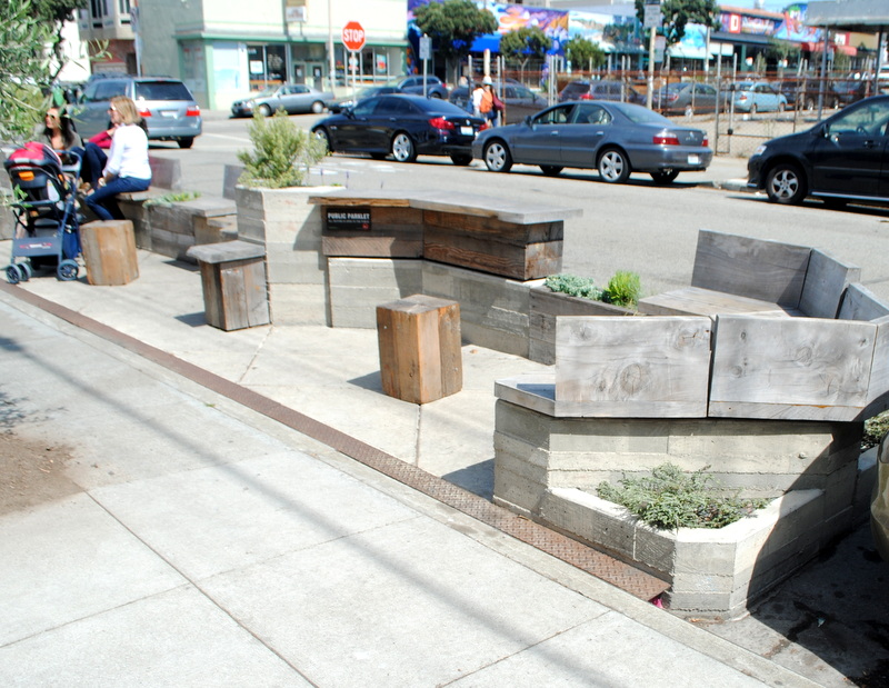 San francisco parklets tiny parks replace parking lots for Outer space urban design